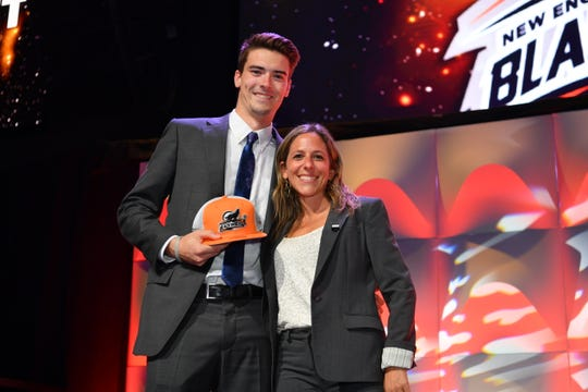 Bailey Brown, Fourth Round 61st Selection New England Black Wolves , with Jessica Berman