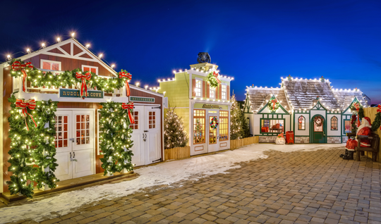 Schellville Christmas Lane is a life-sized village decked out with glowing lights, festive wreaths and more.