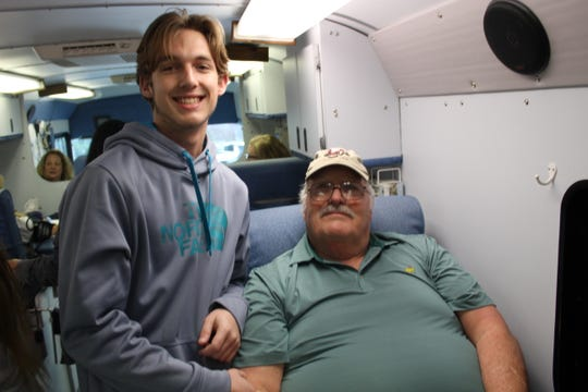 Danny McCall (left) and his grandfather, Joseph Coway. McCall was inspired by his grandfather to start a blood drive.