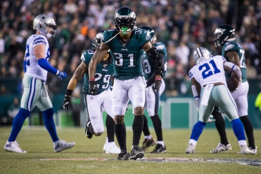 Eagles' Jalen Mills (31) celebrates a third down stop Sunday night against the Cowboys. The Eagles defeated the Cowboys 17-9.
