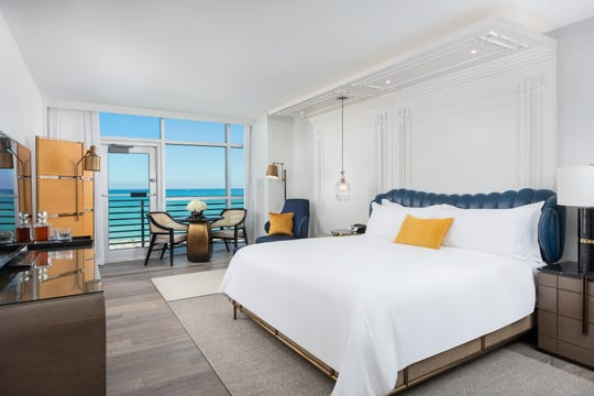 A look inside a guest room at the Ritz-Carlton South Beach, set to reopen in January.