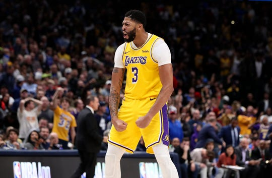 Nov. 1: Los Angeles Lakers forward Anthony Davis reacts during overtime against the Dallas Mavericks at American Airlines Center.