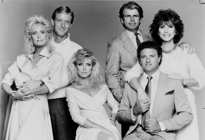 The cast of CBS' 'Knots Landing' (from left): Joan Van Ark, Ted Shackelford, Donna Mills, William Devane, Kevin Dobson and Michele Lee.