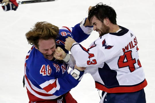 Nov. 20: Washington Capitals right wing Tom Wilson fights with New York Rangers left wing Brendan Lemieux during the third period at Madison Square Garden.
