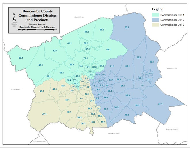 Buncombe County Commissioner Districts and Precincts.