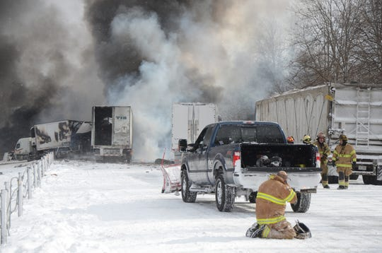 Semis burn on Jan. 9, 2015, in the eastbound lanes of Interstate 94 after a 193-vehicle accident.
