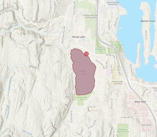 Approximate location of sewage spill on Kitsap Lake.