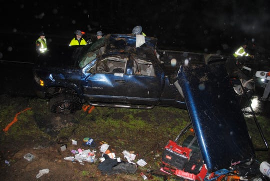 On Tuesday the Washington State Patrol released this photo of a truck damaged in Friday's Highway 16 wreck.