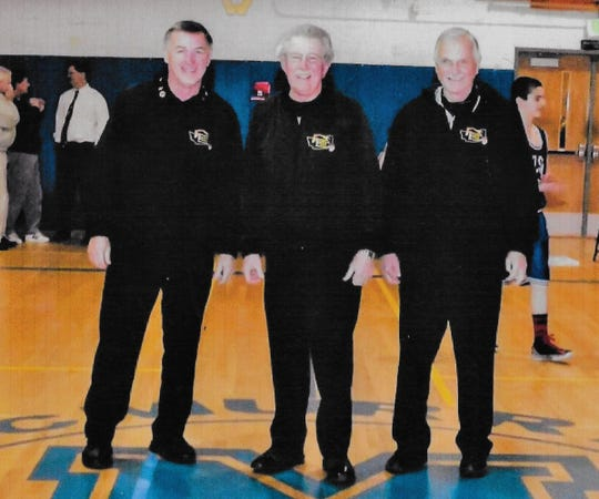 Harold Conway, Jim LaMont and Lloyd Pugh of the Peninsula Basketball Officials Association.