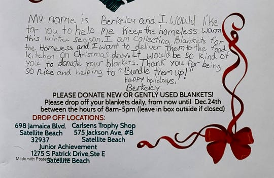 "A details of one of the flyers. Berkeley's ""Bundle Them Up"" Blanket Drive. 9-year-old Berkeley Wright of Satellite Beach started a charity about three weeks ago which has resulted in over 300 blanket donations, at least half of them brand new, to help the homeless. She handed out flyers, and the they set up several drop box locations."