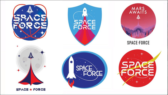 """In August 2018, Trump's campaign sent out an email asking supporters to vote for a """"Space Force"""" logo for his proposed new branch of the military."""