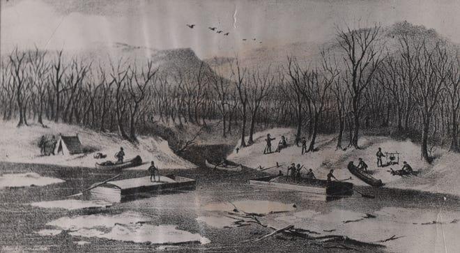 Landing of the pioneers at Yeatman's Cove, foot of Sycamore Street, December 28, 1788, and the beginning of Cincinnati.