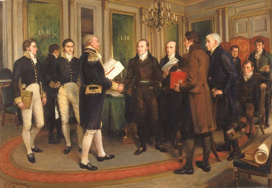 Signing the Treaty of Ghent painting by Amédée Forestier.
