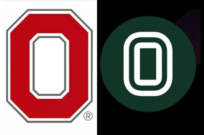 Ohio State's Block 'O' logo, left, and the logo for Overtime.tv