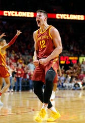 Iowa State forward Michael Jacobson celebrates a basket as the Hawkeyes take on the Cyclones at Hilton Coliseum in Ames Thursday, Dec. 12, 2019.