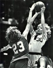 Molly Bolin elevates for a jumper as a member of the Iowa Cornets of the Women's Professional Basketball League.