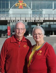 Bill and Judy Hoefle pose in front of South End Zone at Jack Trice Stadium Sunday, Dec. 21, 2019, in Ames, Iowa. Bill Hoefle has been to each Iowa State bowl game since the 1971 Sun Bowl.