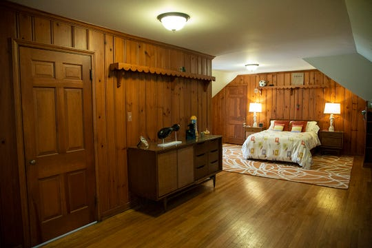 The third floor large open knotty pine guest room is among the rooms in the Stroh family home on Rivard in Grosse Pointe.