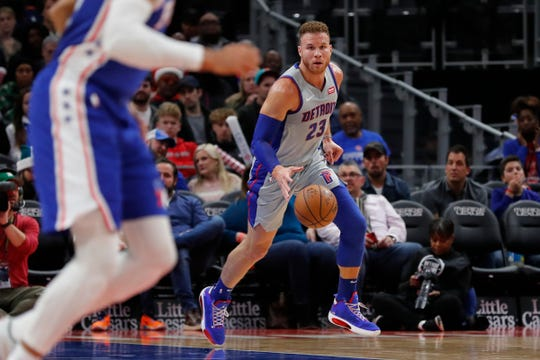 Pistons forward Blake Griffin dribbles in the first half of the Pistons' 125-109 loss on Monday, Dec. 23, 2019, at Little Caesars Arena.