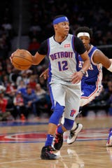 Pistons guard Tim Frazier dribbles in the first half of the Pistons' 125-109 loss on Monday, Dec. 23, 2019, at Little Caesars Arena.