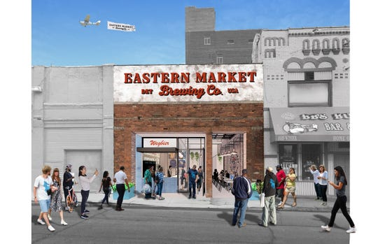 Rendering of Eastern Market Brewing Co.'s renovated event space, expected to be completed in 2020, on 1483 Winder.
