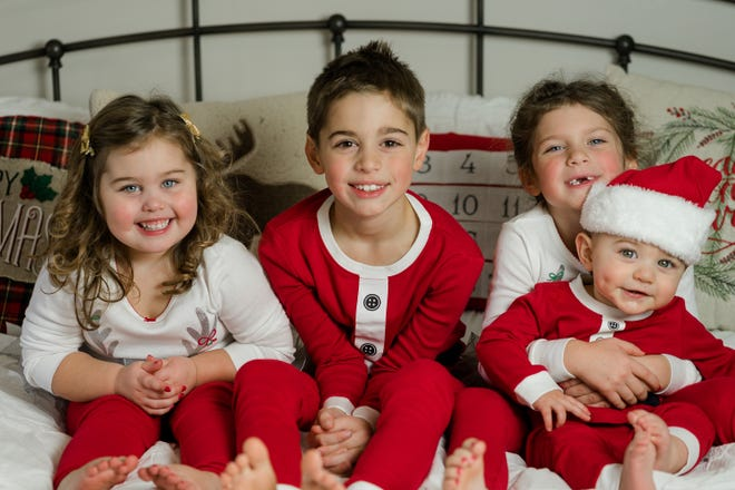 From left to right: Olivia (3 years old), Jacob (7 years old), Anna (5 years old) and James (10 months old)