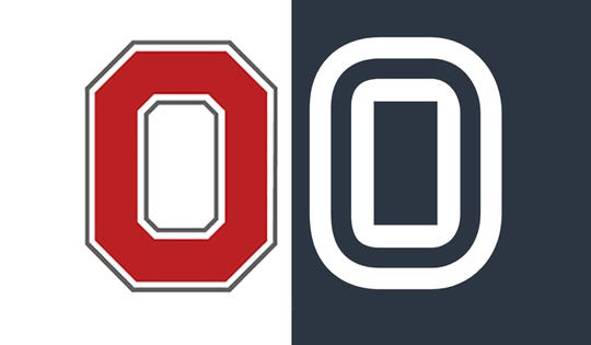 """Ohio State University's """"O,"""" left, is shown next to Overtime Sports Inc.'s logo."""