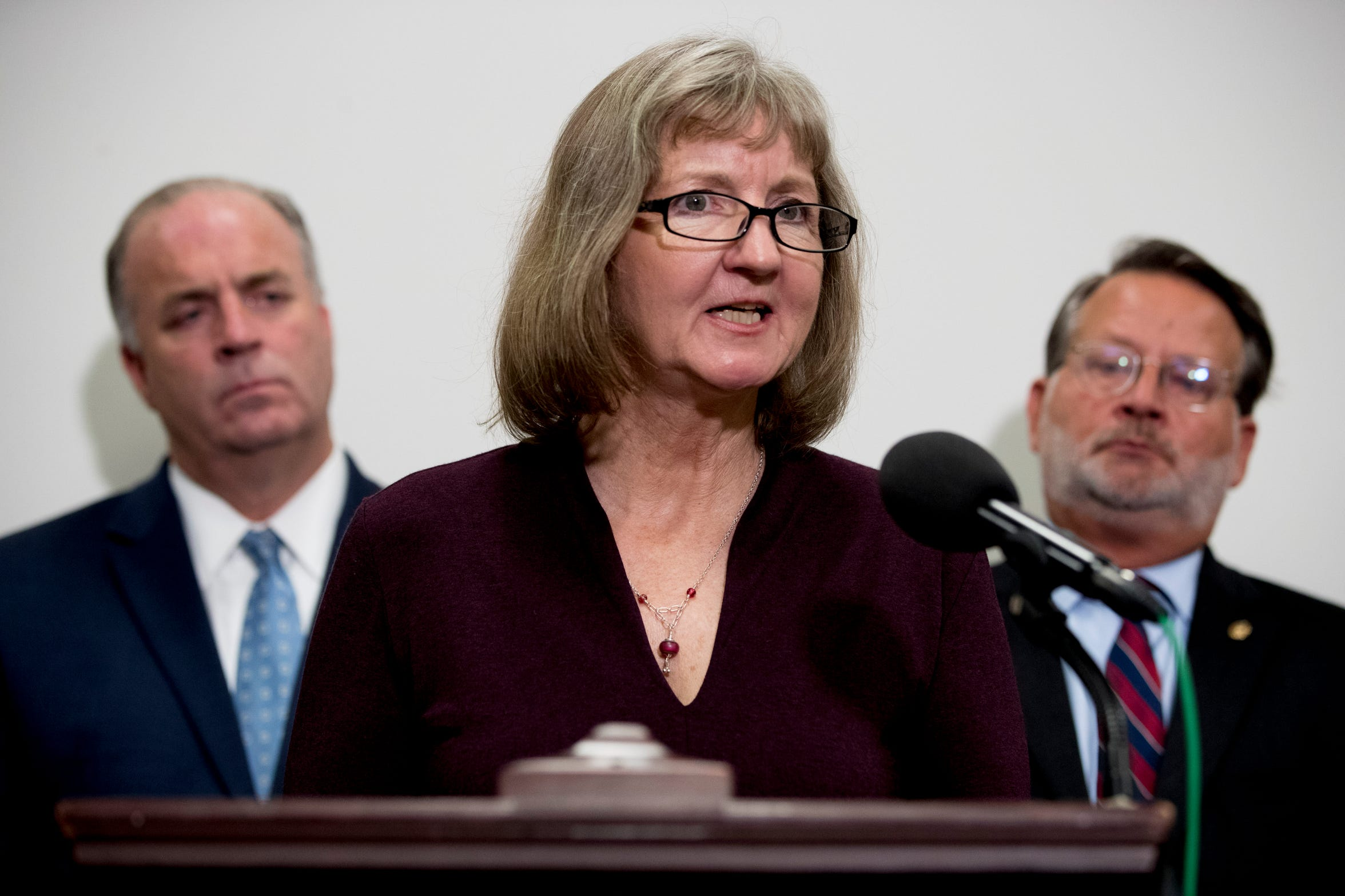 Elizabeth Whelan, the sister of Paul Whelan, accompanied by Rep. Dan Kildee, left, and Sen. Gary Peters, speaks at a news conference on Capitol Hill in September to call on Congress to pass a resolution condemning the Russian government for detaining her brother.