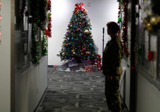 A decorated tree stands in the NORAD Tracks Santa Center at Peterson Air Force Base, Monday, Dec. 23, 2019, in Colorado Springs, Colo.
