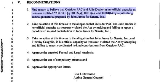 This is a portion of a March 18 letter from Lisa Stevenson, acting general counsel for the Federal Election Commission. The letter offers recommendations in response to a 2018 complaint involving GOP U.S. Senate candidate John James.
