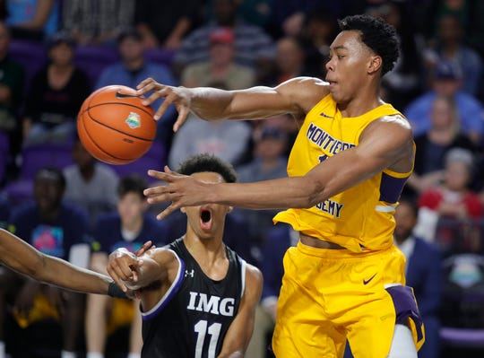 Montverde Academy's Scottie Barnes throws a pass in the 2019 Culligan City of Palms Classic Championship Game Monday, December 23, at Suncoast Credit Union Arena. Montverde  defeated IMG Academy 63-55.