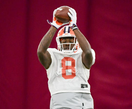 Clemson wide receiver Justyn Ross (8) is already projected as a first-round selection in the 2021 NFL draft.