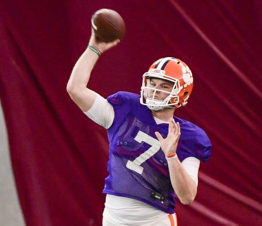 Clemson quarterback Chase Brice (7) passes during practice in Tempe, Arizona Tuesday, December 24.