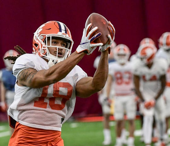 Clemson wide receiver T.J. Chase (18) catches a pass during practice in Tempe, Arizona Tuesday, December 24.