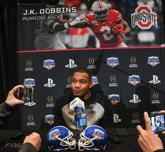 Ohio State running back J.K. Dobbins during media day in Glendale, Arizona Tuesday, December 24.