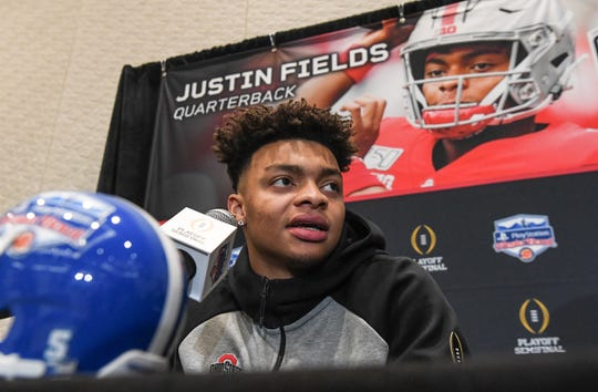Ohio State quarterback Justin Fields during media day in Glendale, Arizona Tuesday, December 24.