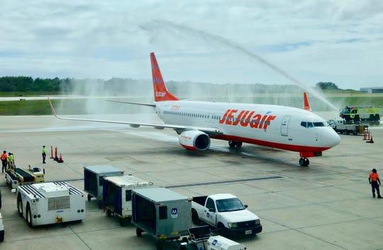 Jeju Air began its direct flight service between Guam and Muan, Korea on Dec. 24. The inaugural flight was greeted by Miss Universe Guam, members of the Guam Visitors Bureau and Guam International Airport Authority.