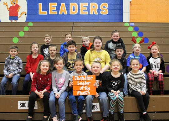 The Chandler Leaders of the Month for  December 2019 are (1st row, from left) Layla Brown, Maggie MacGregor, Collier Catlett, Trey Duncan, Gemma Parker, and DanYel Morrison. 2nd row (from left) is Weston Clark, Rylee Smith, Dylan Daugherty, Luke Mann, Charlee Rayburn, Zaxton Gee, Baylie Hoge, and Maci Green. 3rd row (from left) is Jordan Redden, Elliott Sutton, Will Watkins, and Hunter Hurt.