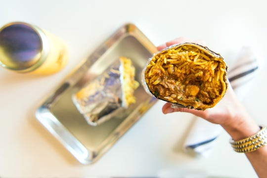 The tikka masala burrito at Curry Up Now, coming to a yet-to-be-revealed downtown Indianpolis location in 2020.