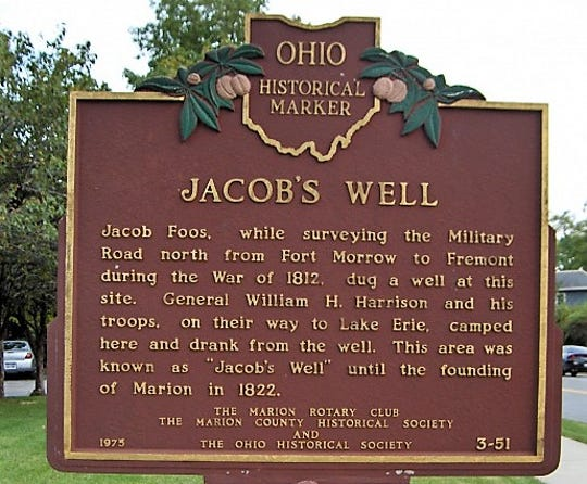 The historical marker at the site of Jacob's Well on Delaware Avenue in Marion.