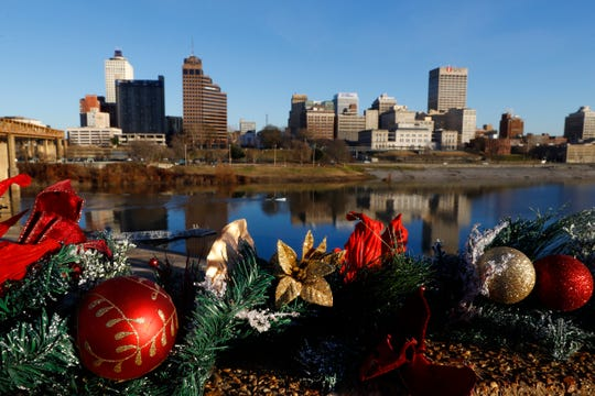 A view of downtown Memphis staged with a Christmas wreath before the holiday on Monday, Dec. 23, 2019.