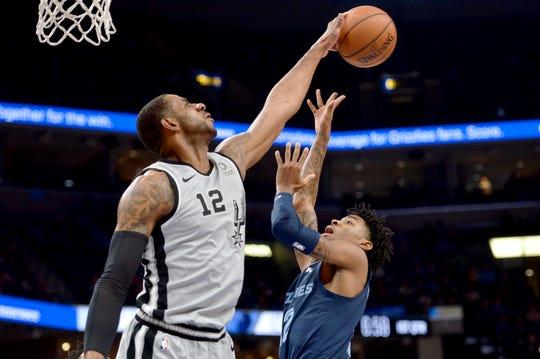 San Antonio Spurs center LaMarcus Aldridge, left, blocks a shot by Memphis Grizzlies guard Ja Morant during the first half of an NBA basketball game Monday, Dec. 23, 2019, in Memphis, Tenn. (AP Photo/Brandon Dill)