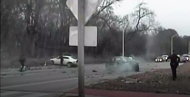 Two cars struck a car on North Mayfair Road driven by a man fleeing Wauwatosa police. Officers attempted to pull over Demitrius Meeks after they noticed his registration was expired.