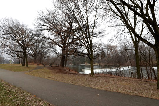 A walking trail on North River Parkway near the Kletzsch Park dam in Glendale on Tuesday, Dec. 24, 2019.