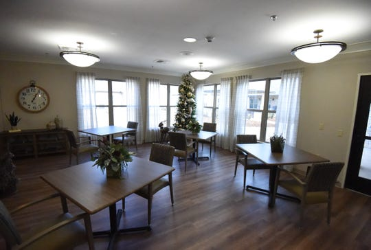 The dining area of Hiram Shaddox Health & Rehab strives for a relaxed feel with open floor space and smaller tables.