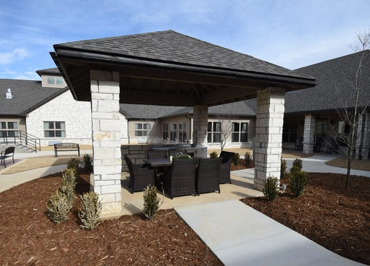 The enclosed courtyard of Hiram Shaddox Health & Rehab includes this pavilion for socializing and dining.