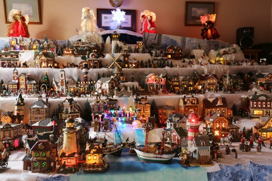Nathalie Fike's Christmas village, seen here on Dec. 24, 2019, has grown from just two houses to over 30, and continues to grow each year.