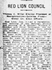 This story from Jan. 6, 1920, edition of The York Dispatch updates readers about the Red Lion Borough Council's reorganization meeting.