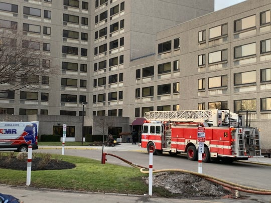 Rochester firefighters on scene at a second-alarm fire at the Pinnacle Apartments on South Clinton Avenue Tuesday.