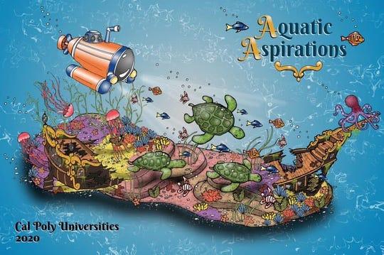 "A conceptual design of the 2020 Cal Poly Rose Parade float, ""Aquatic Aspirations."""